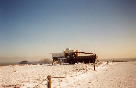 Snowy view of the Bluebird Tea Rooms the Dover Patrol Memorial. January 2004