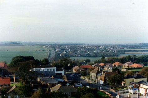 From the church tower looking over the roofs towards Nelson Park. 1989