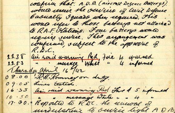 St Margaret's ARP (Air Raid Precautions) Log. Volume 5. 25 September 1941 - 17 July 1942. Pages 97 - 105