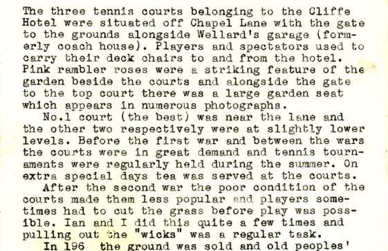 Cliffe Hotel Tennis Courts. Late 1920s