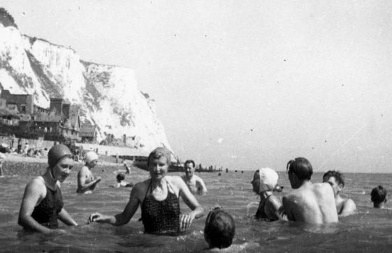 Denoon family and friends playing in the sea, St Margaret's Bay. 1947