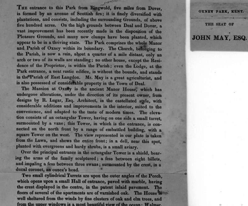 Detailed description of Oxney Court when it was owned by John May of Deal in 1825
