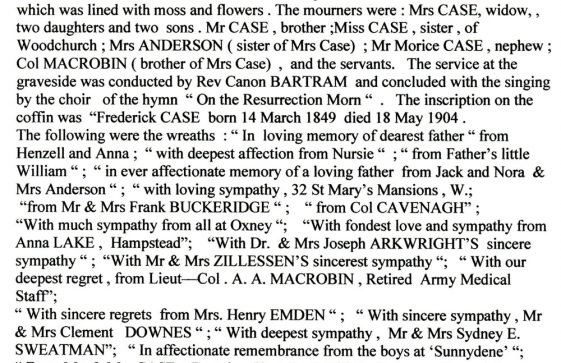 Report of the Funeral of Rev F Case. The Dover Express 27 May 1904
