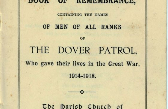 Cover of the Order of Service for the Ceremony of the Dedication of the Book of Remembrance for those of the Dover Patrol who gave their lives in the Great War