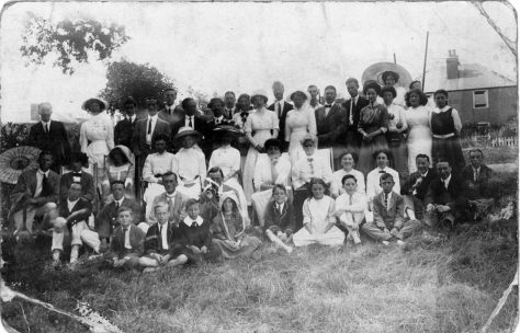 Hotel guests on the Cliffe Hotel Tennis Courts. 1911