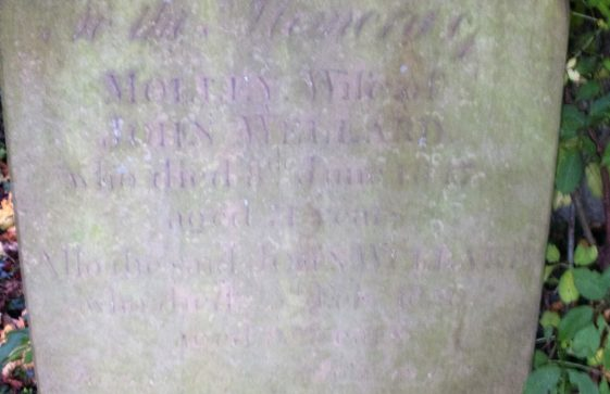 Gravestone of WELLARD Molley 1847; WELLARD John 1856