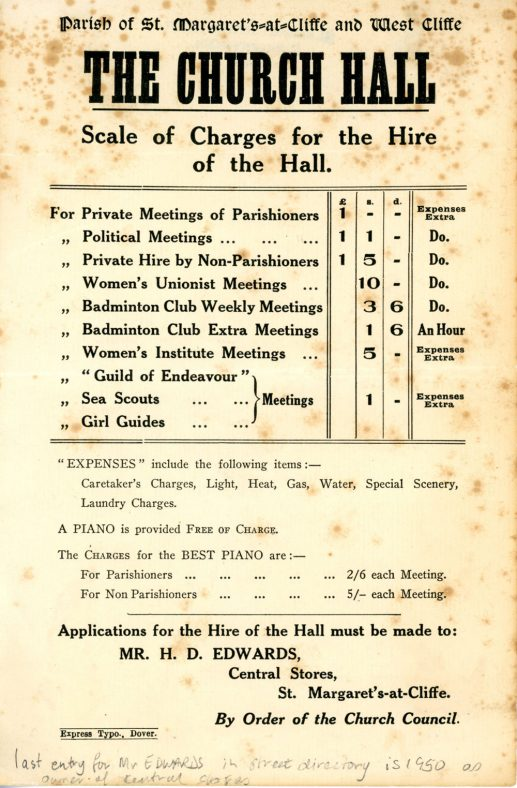 Village Hall Hire Charges pre 1950