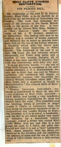 Roof repairs to St Peter's Church Westcliffe; article about the church bell. 1938