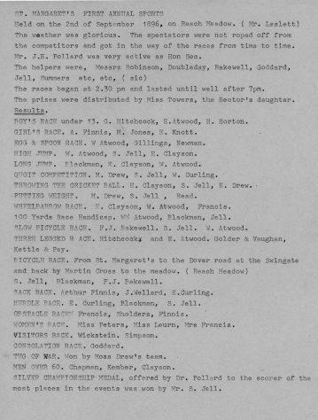 Details of 1st St Margaret's Sports Day.  2nd September 1896