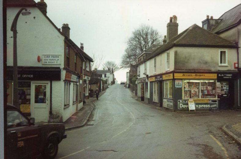 Road works in the High Street.  12 December 1985