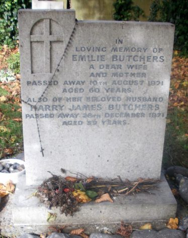 Gravestone of BUTCHERS Emilie 1971; BUTCHERS Harry James 1971
