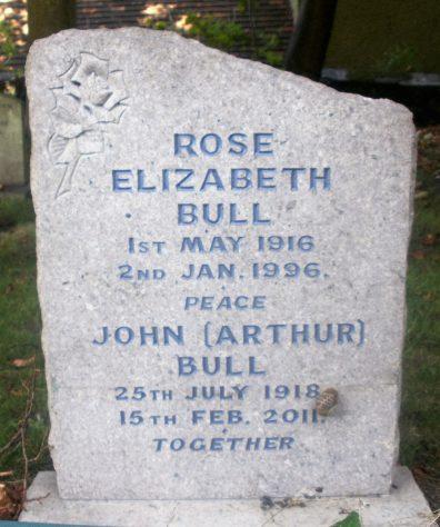 Gravestone of BULL John (Arthur) 2011; BULL Rose Elizabeth 1996