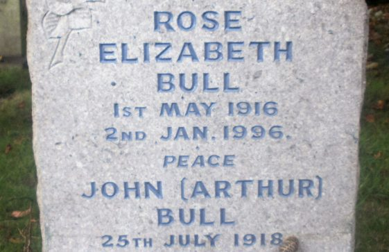 Gravestone of BULL Arthur Dennis  2011; BULL Rose Elizabeth 1996