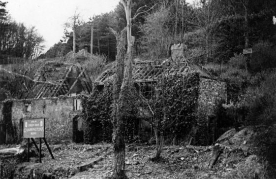 The Green Man in ruins. 1945