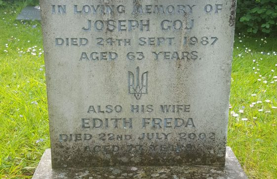 Gravestone of GOJ Joseph Osyp 1987; GOJ Edith Freda 2002