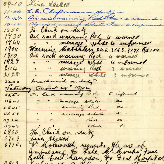 St Margaret's ARP (Air Raid Precautions) Log. Volume 6. 17 July 1942 - 16 February 1043. Pages 29-37