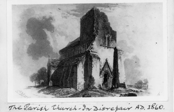 St Margaret's Church tower in ruins AD 1860  [Very inaccurate date].