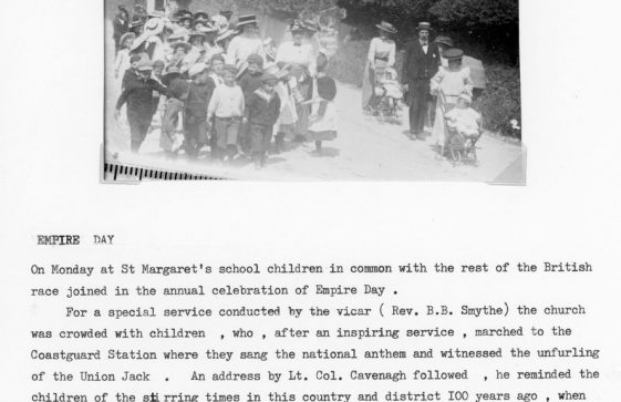 Children from St Margaret's School marching to the Coastguard Station Bay Hill to celebrate Empire Day 1909