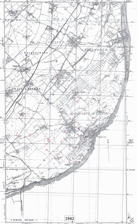 Bomb and shell sites in St Margaret's. 1942