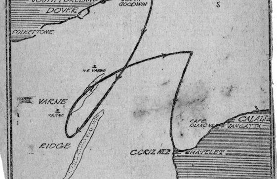 Chart of Burgess's Cross Channel Swim, 1911