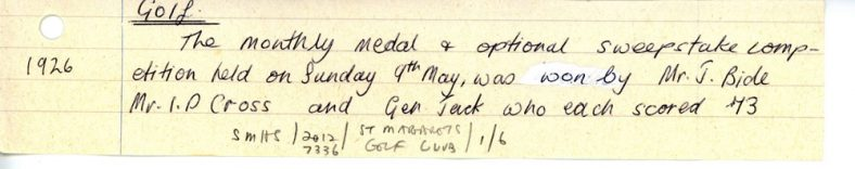 Monthly medal and optional sweepstake competition at St Margaret's Golf Club. 9 May 1926