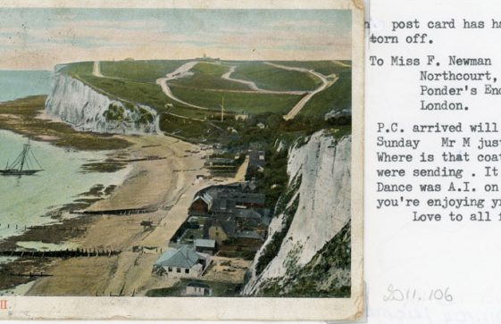 St Margaret's Bay from The Leas. sent to Miss F Newman. c1910