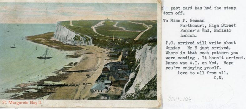 St Margaret's Bay from The Leas. sent to Miss F Newman c1910