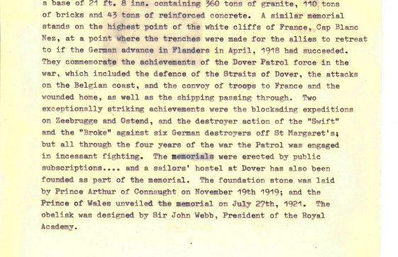 Extract from the St Margaret's Visitors Guide (1925) with information on Dover Patrol Memorial