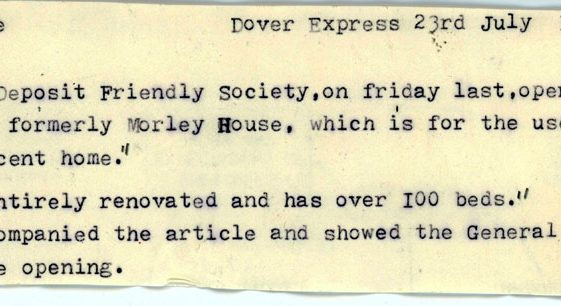 Report on the opening of Portal House. Dover Express 23 July 1920
