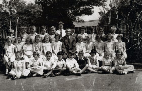 Group photograph of teacher and class taken at the National School in 1958