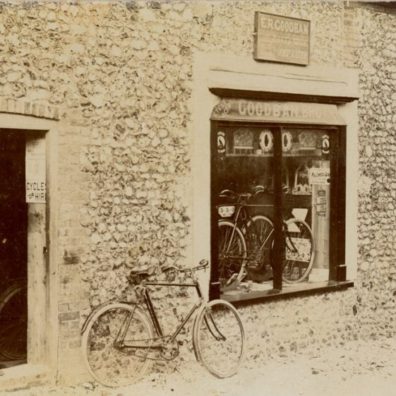 Goodban's Cycle Shop, Chapel Lane with advertisements from local papers.