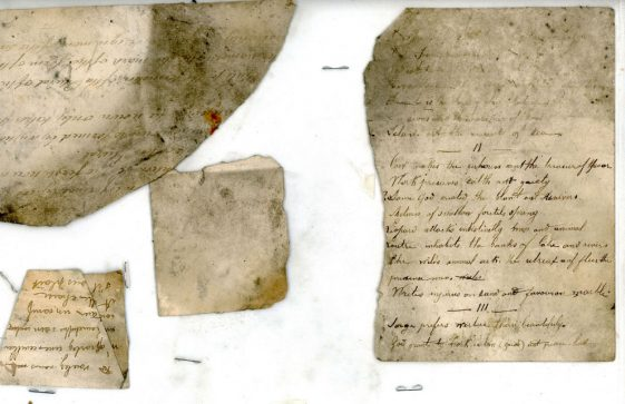 Fragments of a French school book found in a dormitory wall at the former Cliffe House School