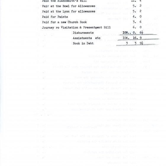 Account of Disbursements of John Youden, Churchwarden, St Margaret's. 1796-1798