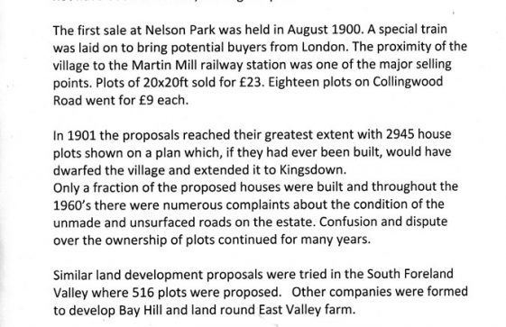 History of development of the Nelson Park Estate
