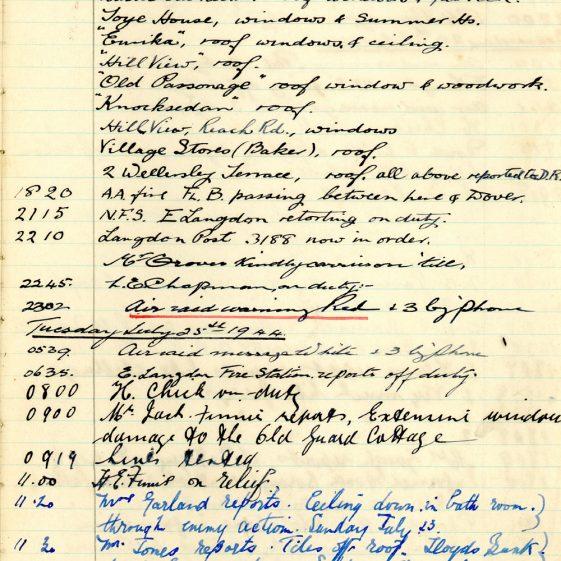 St Margaret's ARP (Air Raid Precautions) Log. Volume 8. 25 October 1943 - 10 August 1944. Pages 122-132