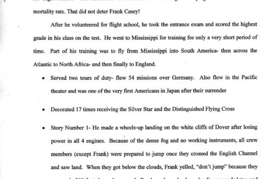 Eulogy for Frank Casey, USA airman who crashed in St Margaret's during WW2