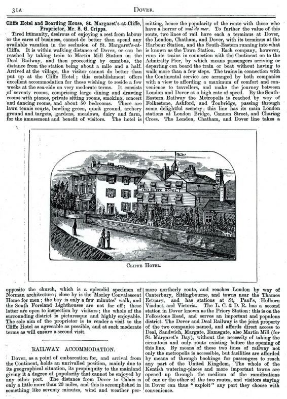 Extract from 'Where to Buy at Dover' a tourist guide. 1891