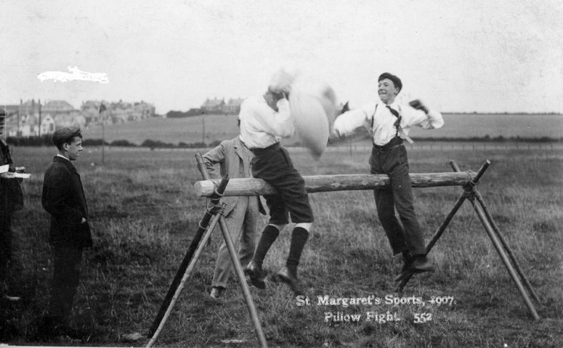 Pillow Fight at St Margaret's Sports Day. 1907