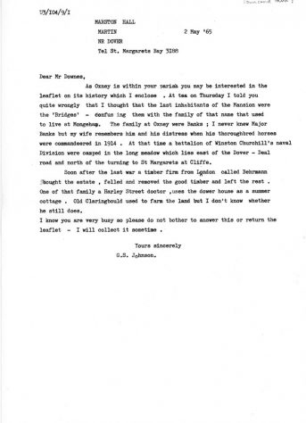 Letter from Mr G S Johnson with items concerning Oxney Court. 2 May 1965