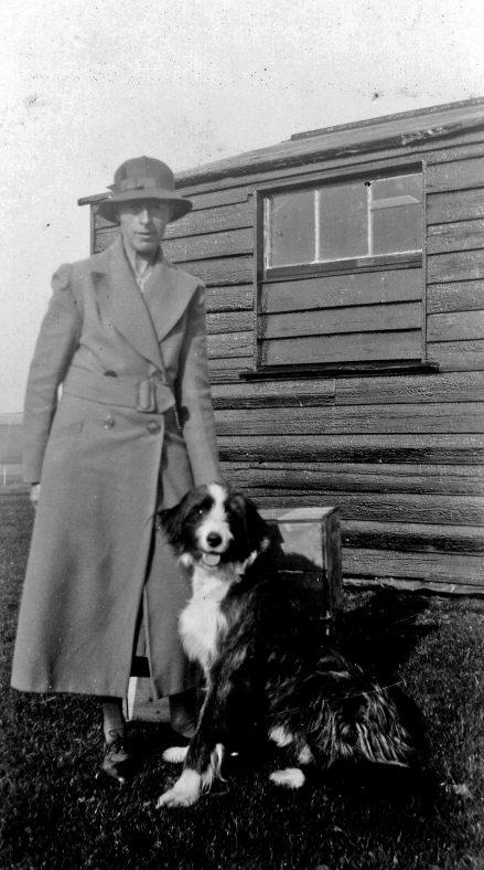 Annie Sharpe with a dog. 1930s