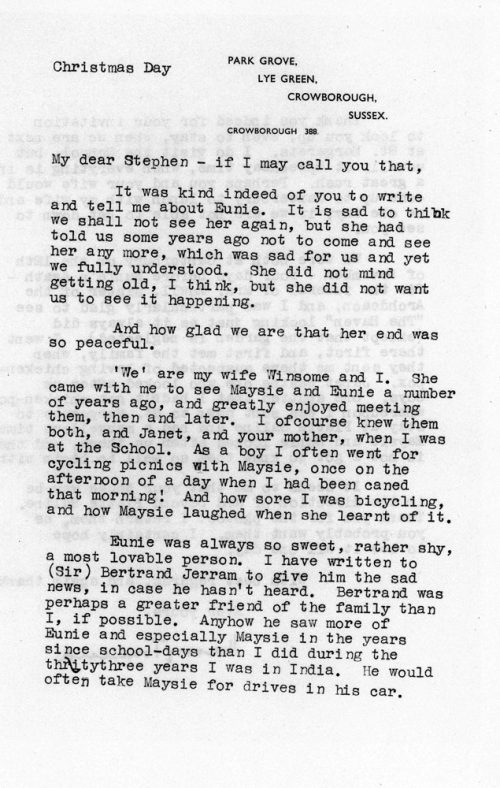 Letter to Stephen Phillips about the death of Eunie Evens, 1966