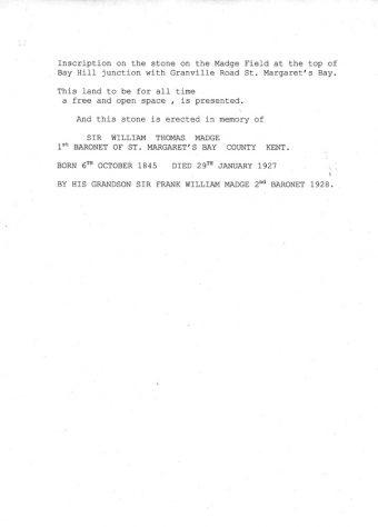 Transcript of the Inscription on the commemorative stone in Madge's Field, Bay Hill