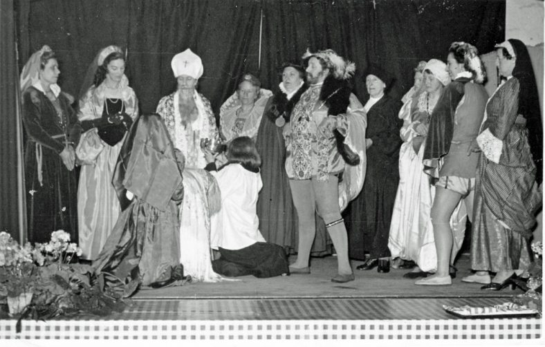 Scene from the WI production 'The Christening of Elizabeth 1st '. C1953