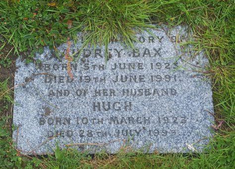 Gravestone of BAX Audrey 1991; BAX Hugh 1999