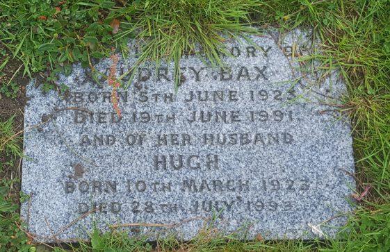 Gravestone of BAX Audrey Mabel 1991; BAX Hugh Martin Ironside 1999