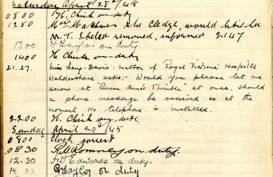 St Margaret's ARP (Air Raid Precautions) Log. Volume 9. 10 August 1944 - 30 June 1945. Pages 115-122