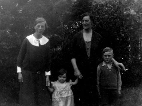 Annie Sharpe with Mrs White, Margaret and John