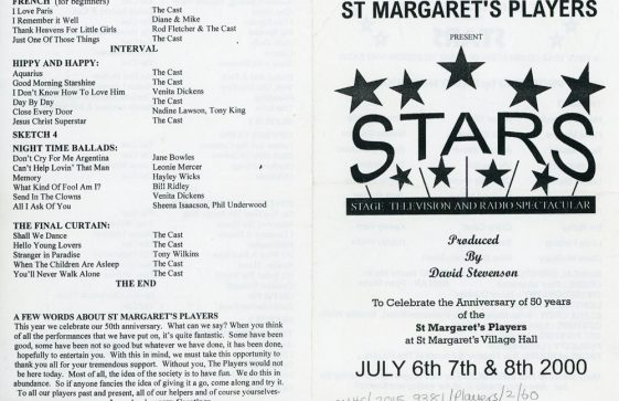 Programme of St Margaret's Players production 'Stars'  2000.