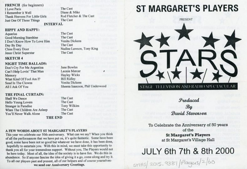 Programme of St Margaret's Players production 'Stars' 2000. | St Margaret's Players
