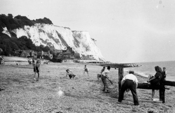 Playing cricket on St Margaret's beach. Mid to late 1940s